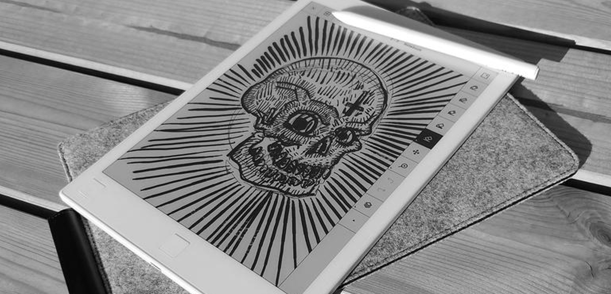 Skull artwork on reMarkable Tablet
